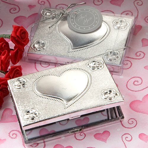Personalized Heart Mirror Compact (Elegant Reflections Collection Heart Design mirror Compact Favors,)