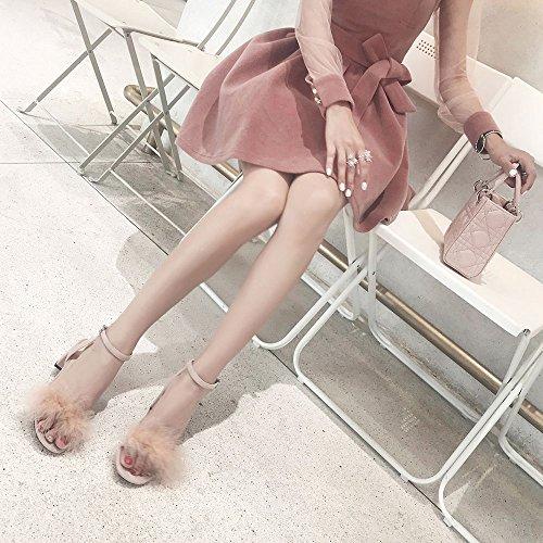 Femenino Pink Sandalias con Tamaño Verano Verde Abierta UK5 con CN38 Color Tacones Punta 5 Altos EU38 áspera Coreanas CAICOLOR Slipper Hebilla p7CxBqq