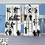 SCOCICI1588 Design Print Grommet top Thermal Insulated Director Mak Film Movie Production Actor Stick Figure Pictogram Icon Linen Room Darkening Curtains 108''W By 84''L Pair.