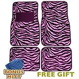zebra pink car accessories - Unique Imports A Set of 4 Universal Fit Animal Print Carpet Floor Mats for Cars/Truck - Pink Zebra Stripes & Bonus Detailing WASH MITT