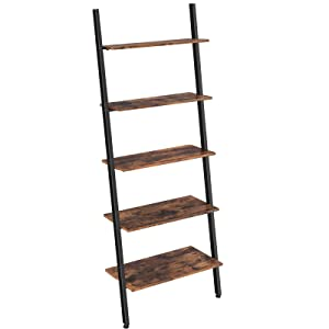 VASAGLE Alinru Ladder Shelf, 5-Tier Bookshelf Rack, Leaning Wall Shelf for Living Room Kitchen Office, Stable Iron, Industrial, Rustic Brown ULLS46BX