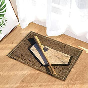 Charmant NYMB Baseball Decor, A Stick And A Ball On Home Plate Bath Rugs For Bathroom,  Non Slip Floor Entryways Outdoor Indoor Front Door Mat, Kids Bath Mat, ...