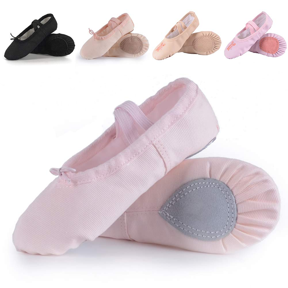 Ballet Shoes for Girls/Toddlers/Kids,Black Canvas Ballet Shoes/Leather Ballet Slippers/Dance Shoes