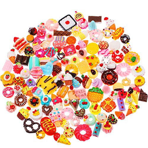 (BBTO 120 Pieces Slime Charms Mixed Food Cake Ice-Cream Chocolate Cookie Dessert Resin Flatback Slime Beads Making Supplies for DIY Crafts)
