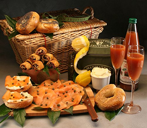 Bagel Brunch Deluxe Artisanal Gift Basket Made to Order with 4 Bagels (Sesame and Poppy Seeds), Scottish Smoked Salmon, Cream Cheese, Lemon, Capers, Blood Orange Juice and Rugelach