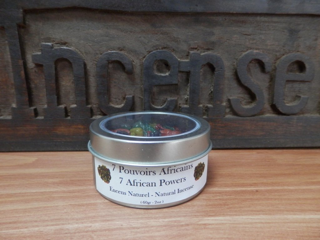 7 African Powers Resin Incense in Window Tin Box 2oz
