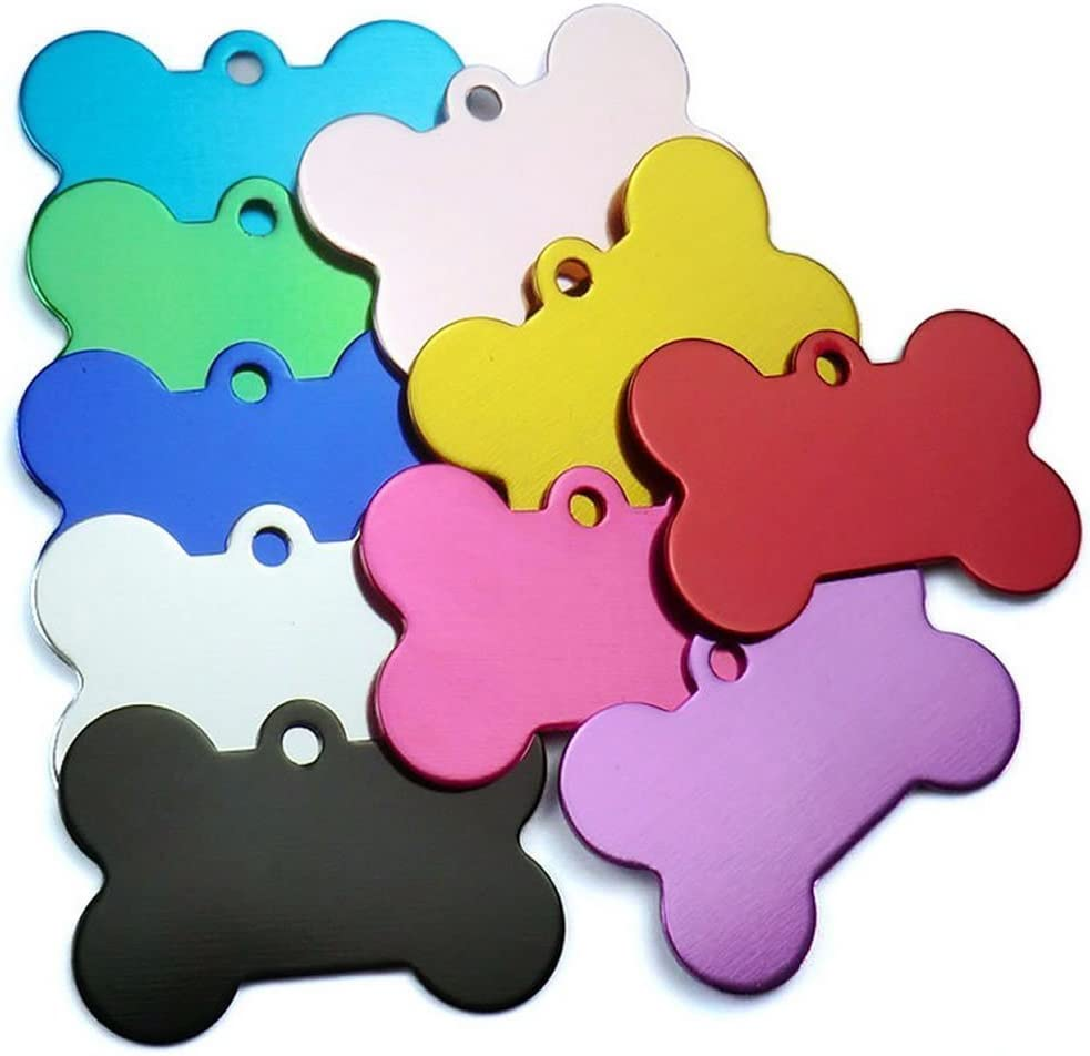 POPETPOP 20Pcs Pet ID Tag Bone Shape Double Sided Dog Cat Pet Name Phone Number ID Tag for Pet Identification 38MM