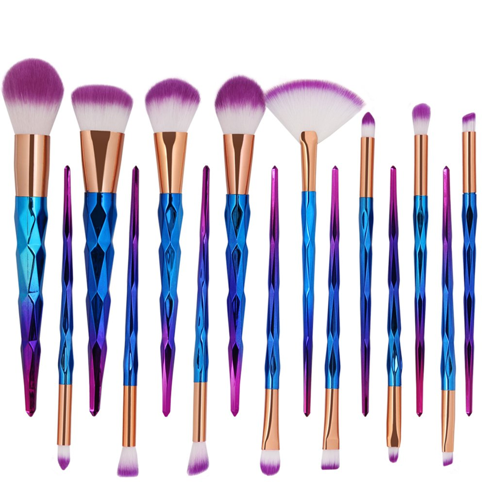 gainvictorlf Makeup brush 15 Pcs Colorful Handle Soft Nylon Hair Fan Head Powder Makeup Brush Beauty Tool - Multicolor