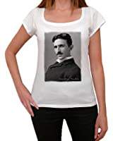 Nikola Tesla, tee shirt femme, imprimé célébrité,Blanc, t shirt femme,cadeau