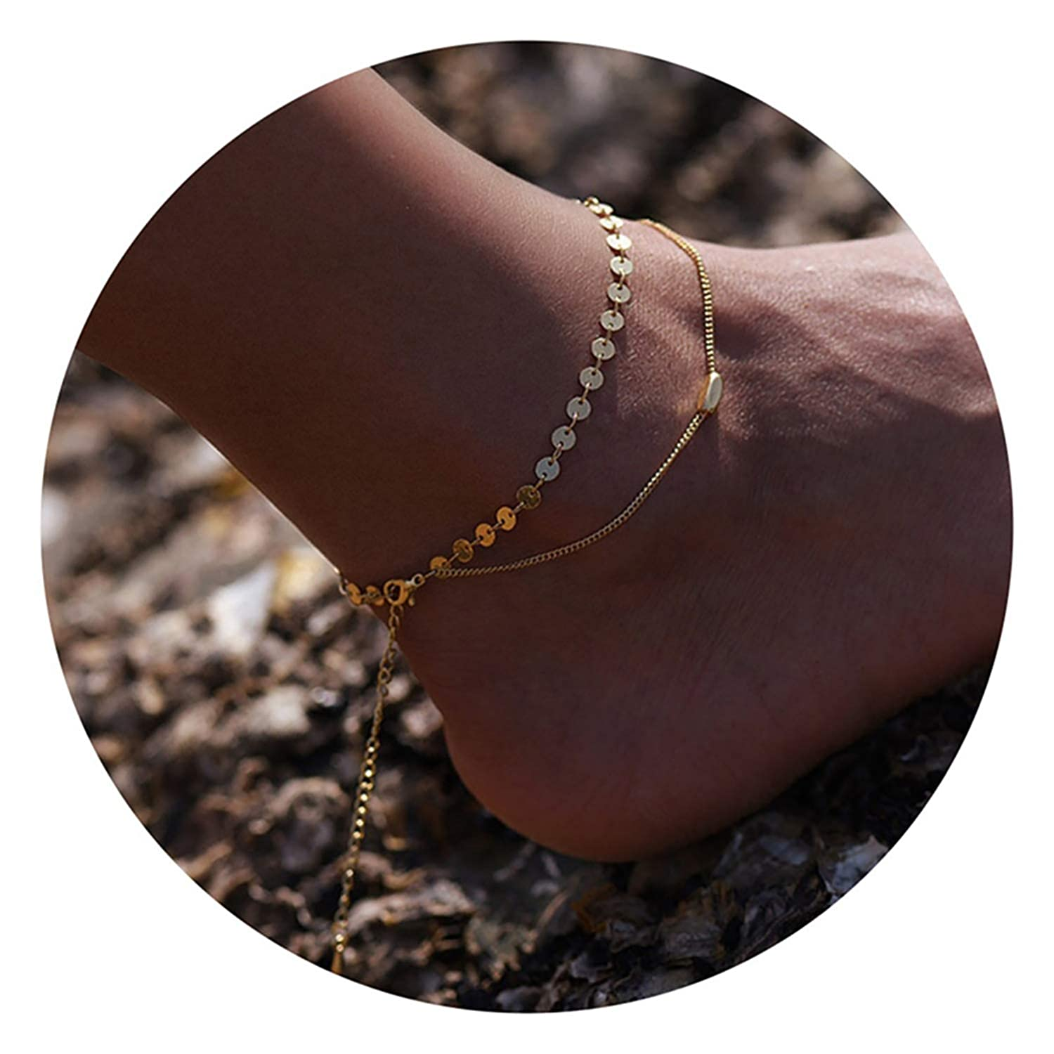 LOYATA Boho Layered Sequins Anklet 14K Gold Plated Dainty Ankle Bracelet Charm Anklets Foot Chain Jewelry for Women