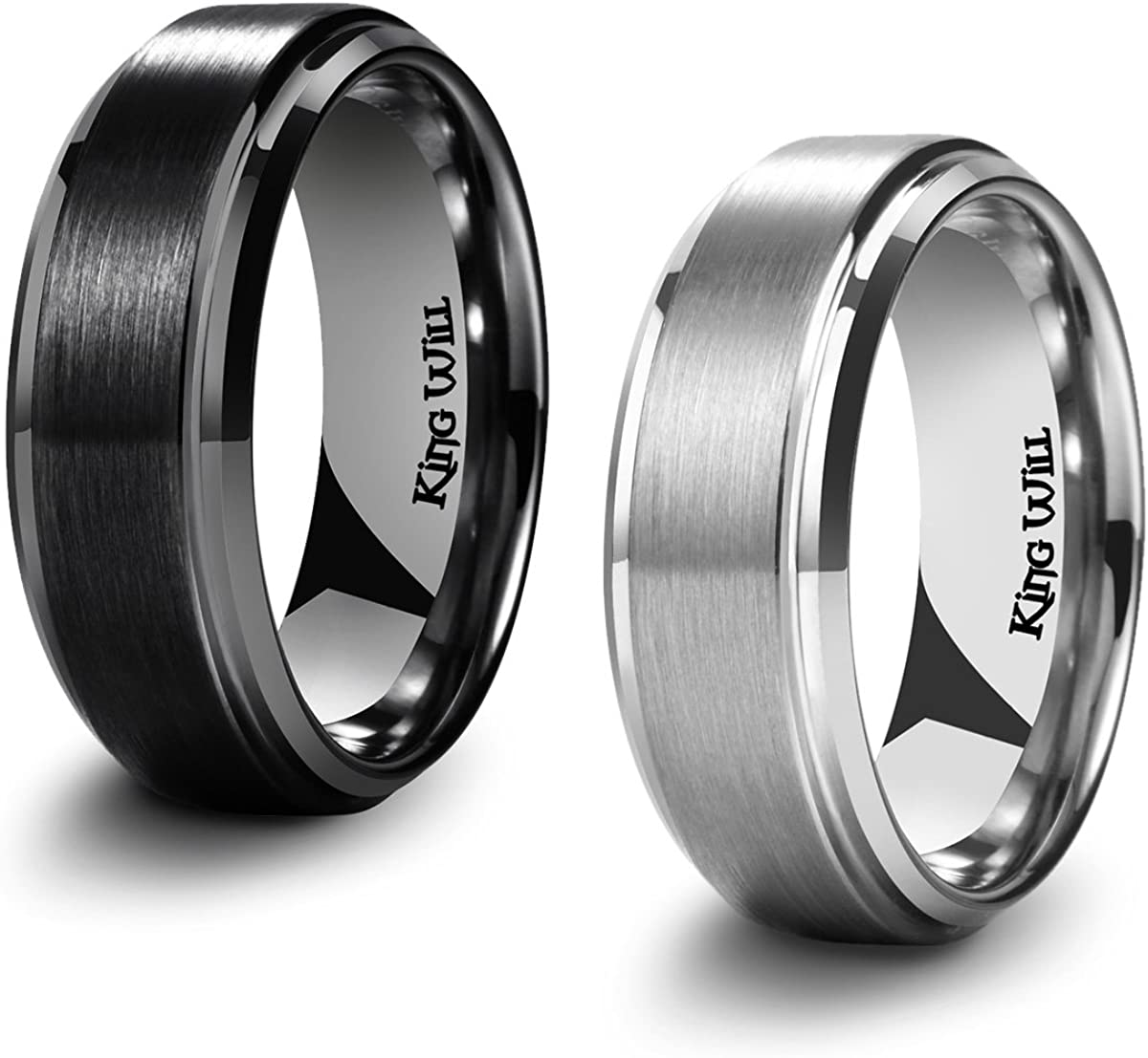 King Will Basic Men's Black Titanium Ring 8mm Polished Beveled Stepped Edge Matte Brushed Finish Center Wedding Band 2Pcs Set