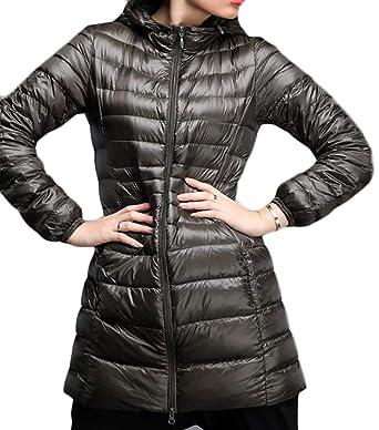 a060cfca245e JWK Women s Solid Lightweight Hooded Packable Winter Puffer Coats Army Green  X-Small