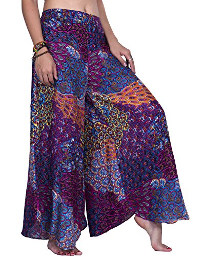 Rita & Risa Women's Bohemian Hippie Peacock High Waist Wide Leg Harem Long Palazzo Pants (Medium, Purple (Straight Leg Crop Yoga Pant)