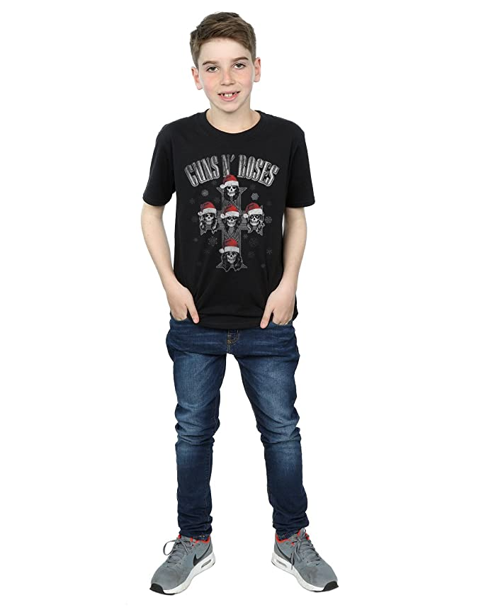 Amazon.com: Guns N Roses Boys Christmas Cross T-Shirt 7-8 Years Black: Clothing