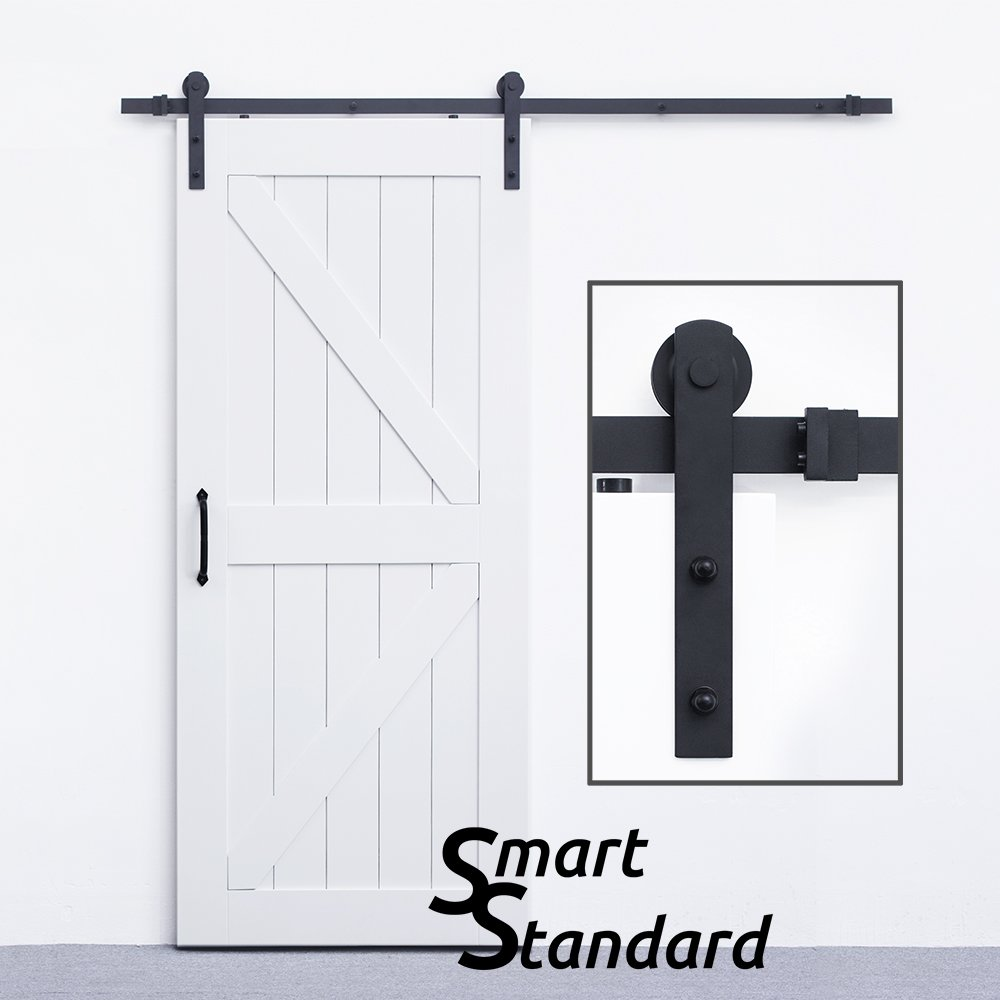 SmartStandard Heavy Duty Sturdy Sliding Barn Door Hardware Kit 6.6ft - Super Smoothly and Quietly - Simple and Easy to install - Includes Step-By-Step Installation Instruction Fit 36''-40'' Wide Door