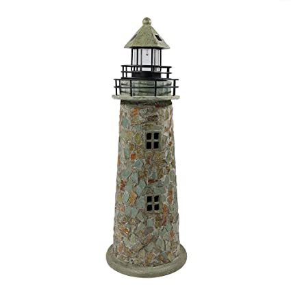 Sunnydaze Solar Led Garden Lighthouse Outdoor Yard Decoration 35
