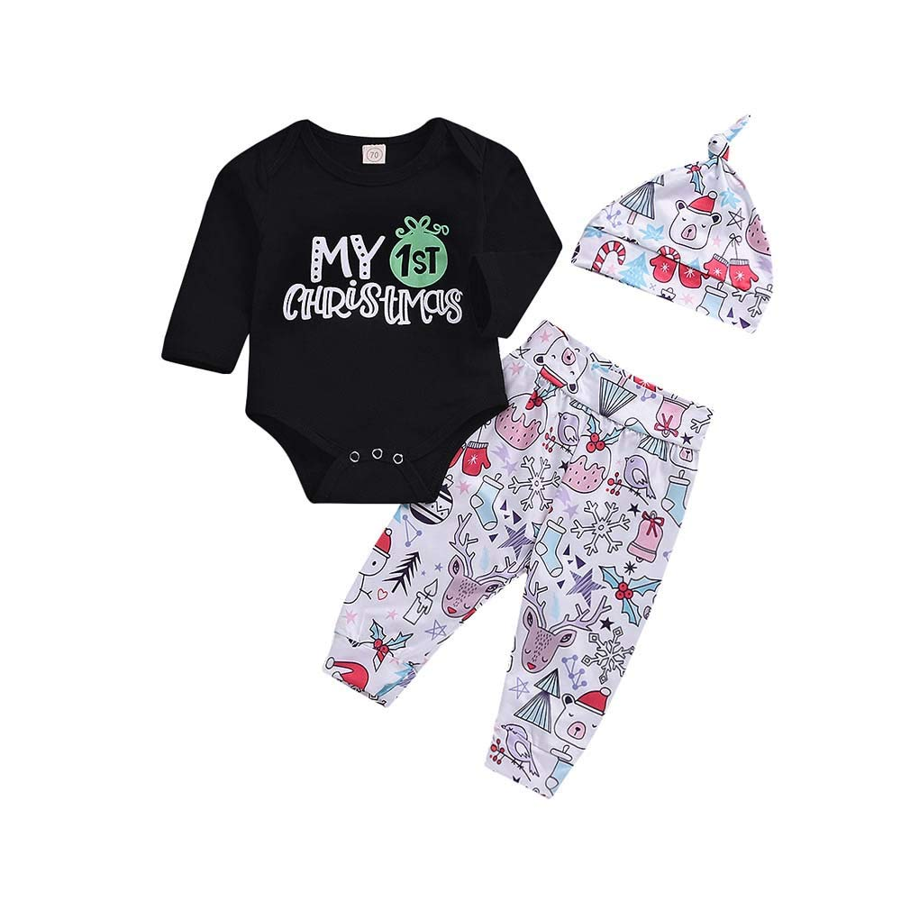 Toddler Baby Boys Girls Outfits My Frist Christmas Letter Print Rompers Clothes Set Memela Baby Christmas Outfit