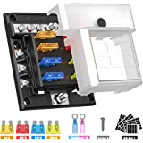 Gerguirry 6-Way Fuse Block Holder ATO/ATC Fuse Block with LED Indicator Damp-Proof Protection Cover Sticker for…