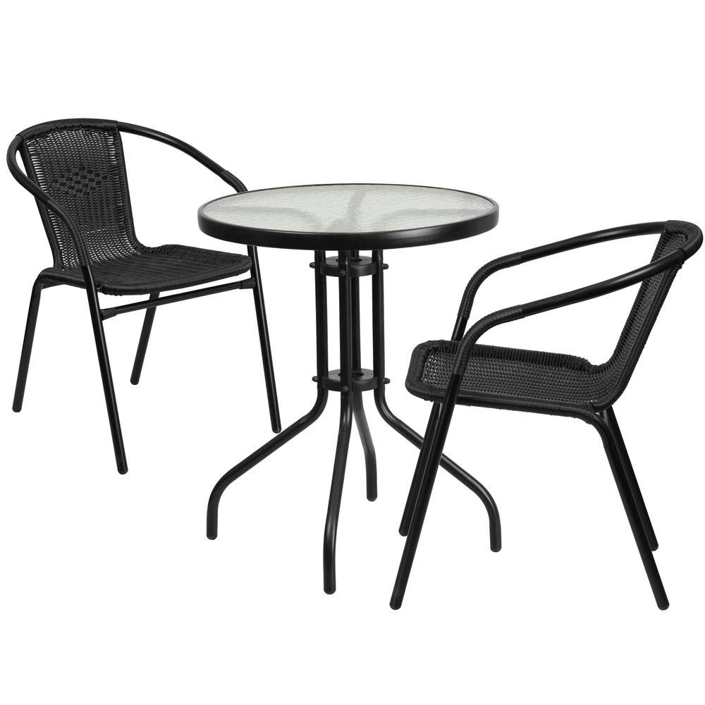 AmeriZon 23.75'' Round Glass Metal Table with 2 Black Rattan Stack Chairs