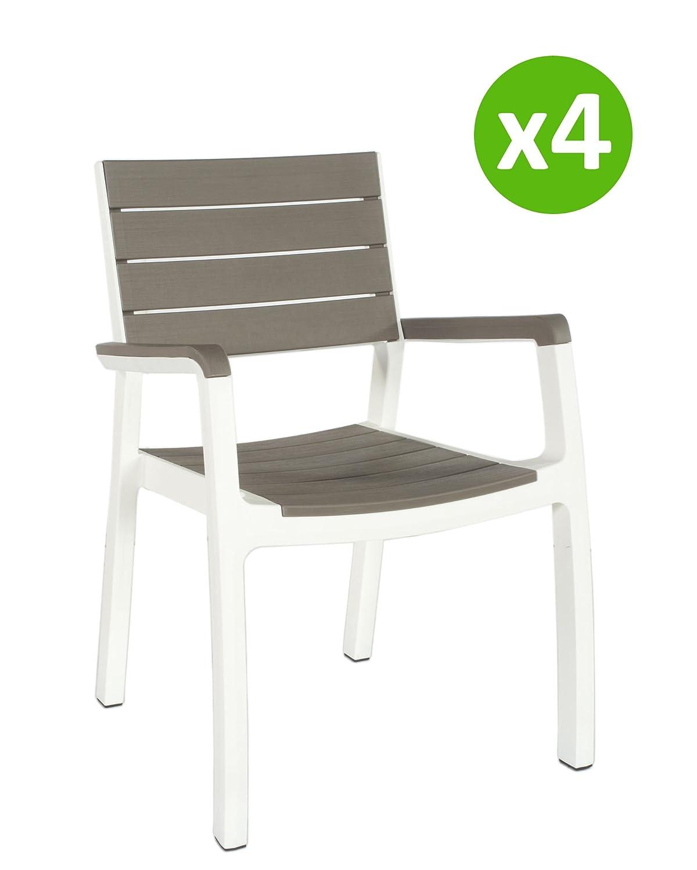 PRIMATRONIC Poltrone Harmony (4 pezzi) grigio/bianco in resina con stampo finto legno | Dimensioni poltrona 59x60xh86 cm