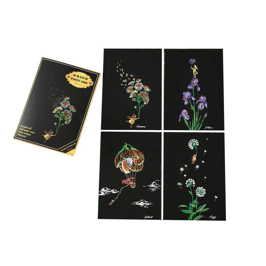 ICCUN DIY Drawing Painting Coloring Multicolor Scratch Postcard Gift