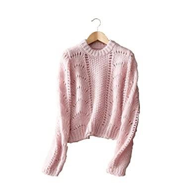 e0b3a8b84180 YISHI Women s Casual Loose Knit Loose Fluffy Mohair Pullover Jumper ...