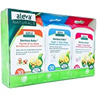 Aleva Naturals Bamboo Baby Wipes Daily Essentials Pack, Hand & Face, Pacifier & Toy, Tooth 'n' Gum Wipes, Natural…