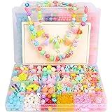 Juego de Cuentas Kits de Fabricación de Joyas para Niños Juegos para Crear Joyas Juego de Perlas de Bricolaje 24 Tipos y Formas Cuenta de Colores Collar Niña y Pulsera artesanal Regalo DIY Beads Kit