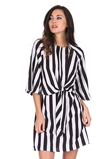 40b971f48a AX Paris Women s Striped Tie Waist Dress at Amazon Women s Clothing ...