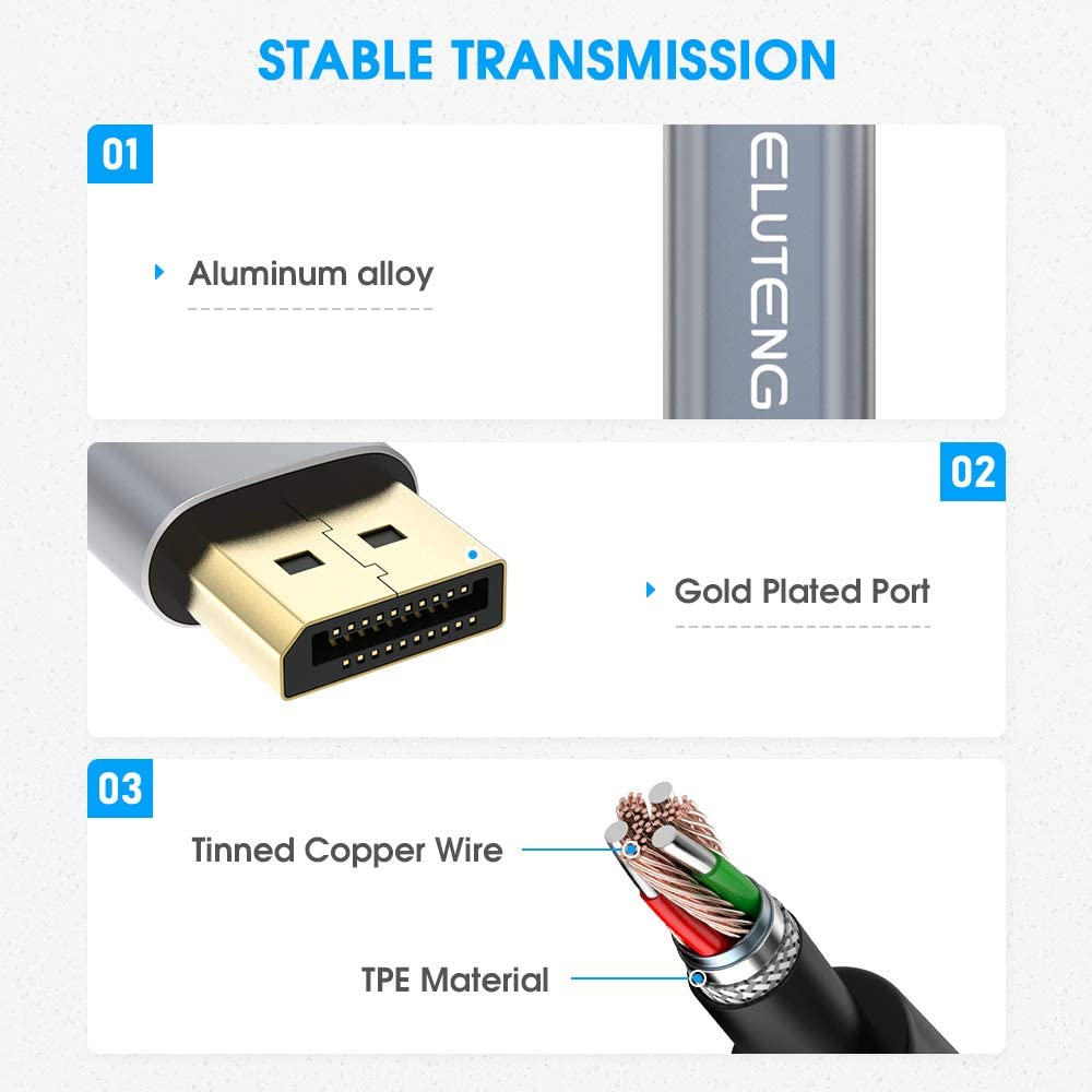 USB C to Displayport Cable 4K 60Hz Laptop Projector TV PC and More ELUTENG 3FT Thunderbolt 3 to Displayport Cable Gold-Plated USB Type C-DP Compatible with MacBook Pro