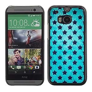 KOKO CASE / HTC One M8 / stars universe wallpaper blue sky black / Slim Black Plastic Case Cover Shell Armor