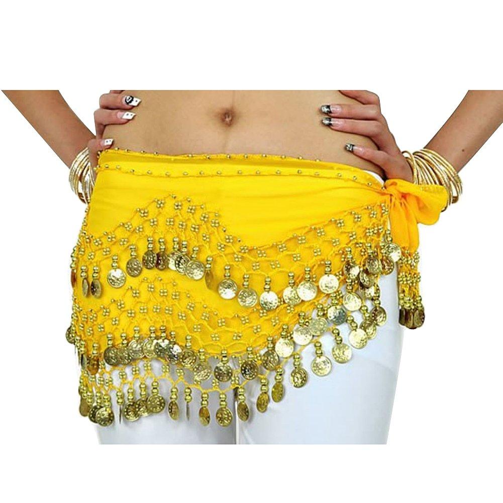 Jelinda ® pancia ballare costumes foulard Gonna catena Hip-Cintura con 3 file 128 angoli dorato HIP0Y