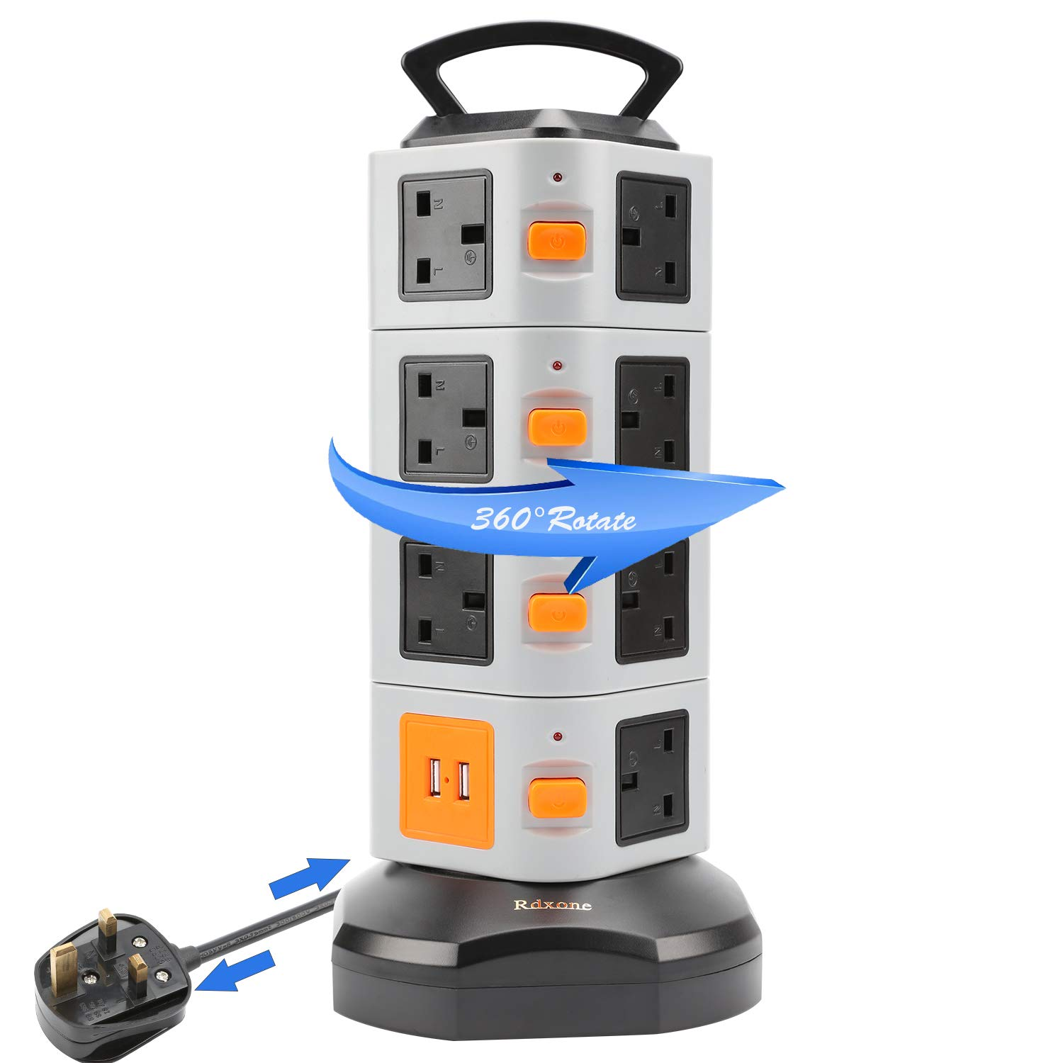 Rdxone Retractable Extention Lead Outlets Sockets 1.8M/5.9ft Extention Cord 11 Way Outlets with 2 USB Ports Overload Protection Seperated Swtiches Control
