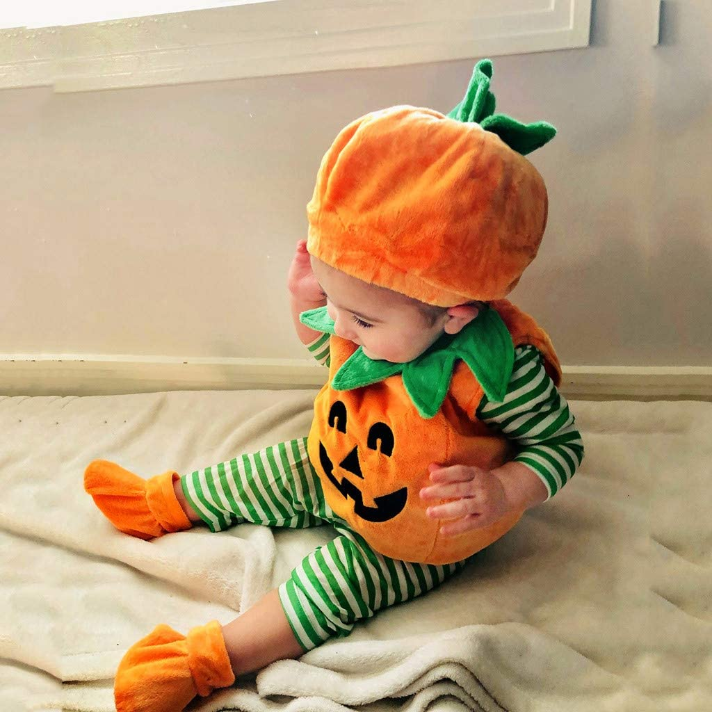 MMLsure Baby Halloween Outfit Baby Super Cute Little Pumpkin Costume Newborn Outfits Unisex Newborn Infants Baby Boy Girl Romper+Hat+1 Pair Shoes Suit Halloween Cosplay Outfit
