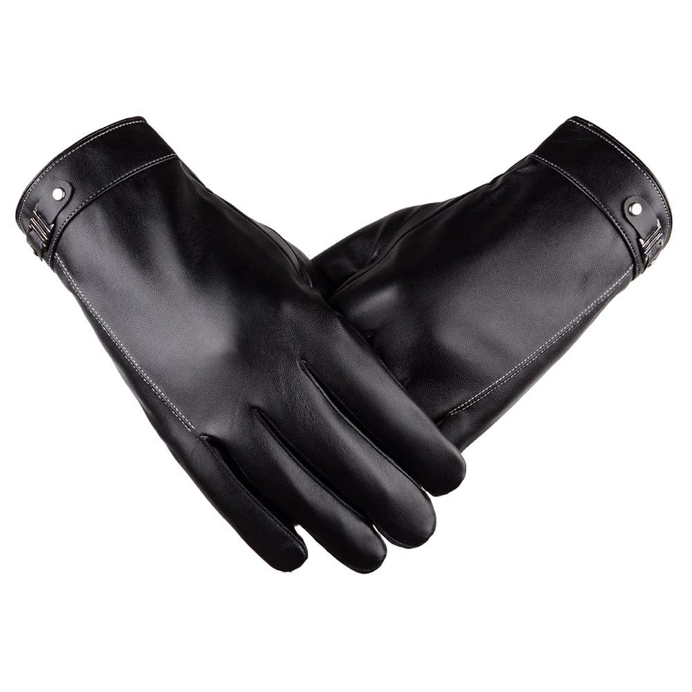 ANJUY Men's Classic PU Leather Gloves Touchscreen Winter Warm Driving Mittens