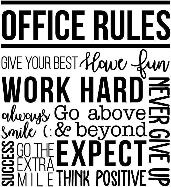 "Vinyl Wall Art Decal - Office Rules Give Your Best Work Hard Never Give Up Think Positive - 40"" x 36.5"" - Inspirational Optimistic Quote Sticker for Meetings Conference Room Work Store Decor (Black)"