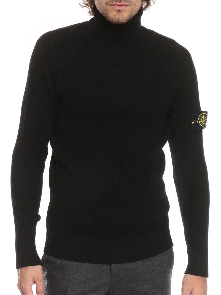 (ストーンアイランド) STONE ISLAND ウール100% リブ 袖ロゴ タートルネック セーター [SI6915535C2]ホワイト/S [並行輸入品] B07FYK9TDQ S|ブラック ブラック S