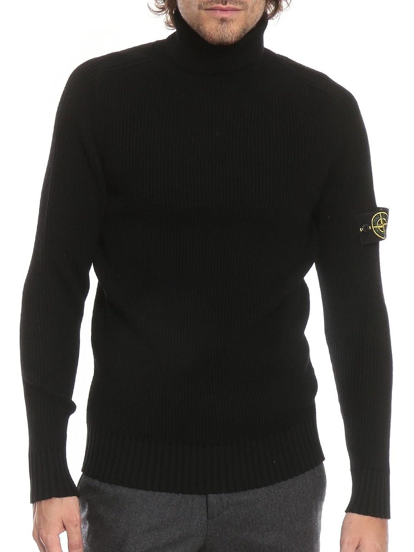 (ストーンアイランド) STONE ISLAND ウール100% リブ 袖ロゴ タートルネック セーター [SI6915535C2]ホワイト/S [並行輸入品] B07FYLZS75  ブラック 1XL