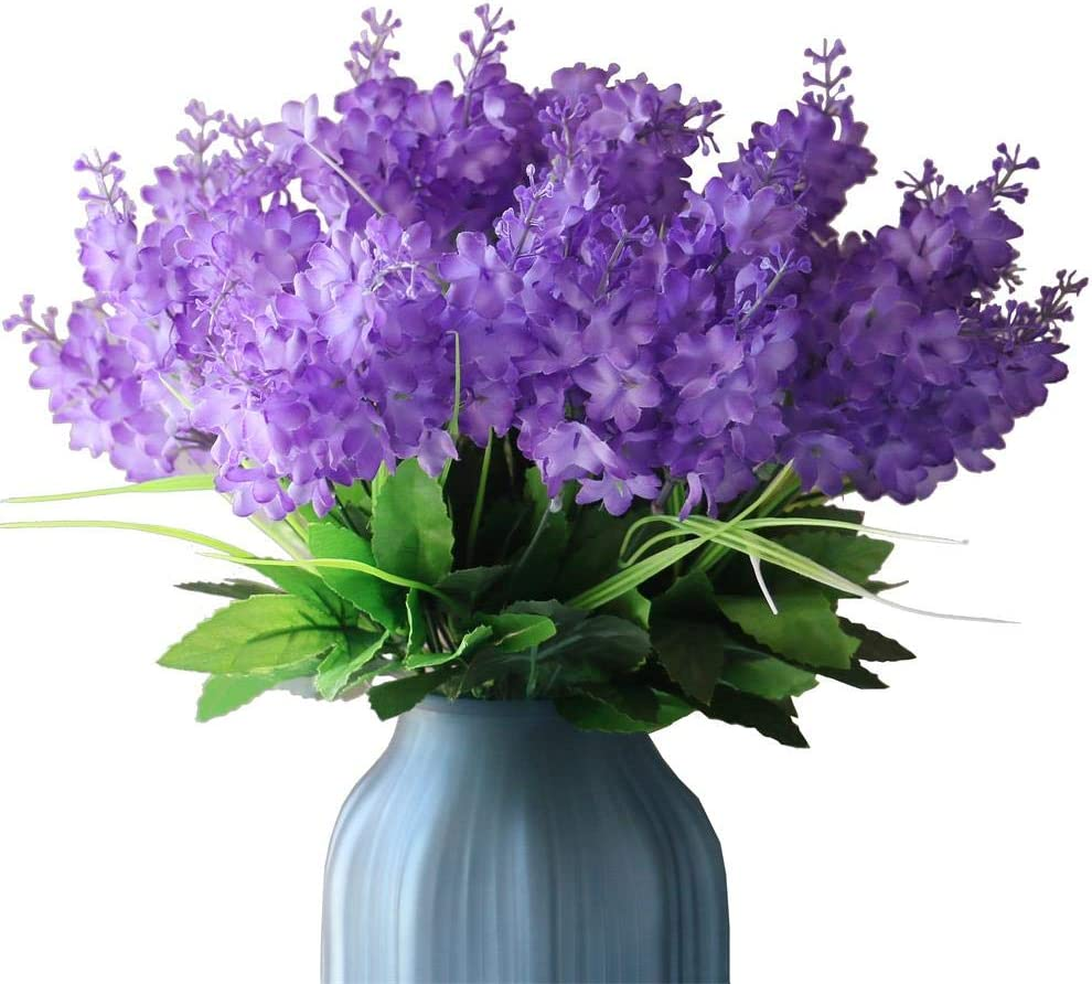 YXYQR Silk Artificial Flowers Bouquet Fake Wisteria Flowers Floral Arrangement for Home Wedding Vase Centerpieces Table Decoration (6 Pack, Light Purple)