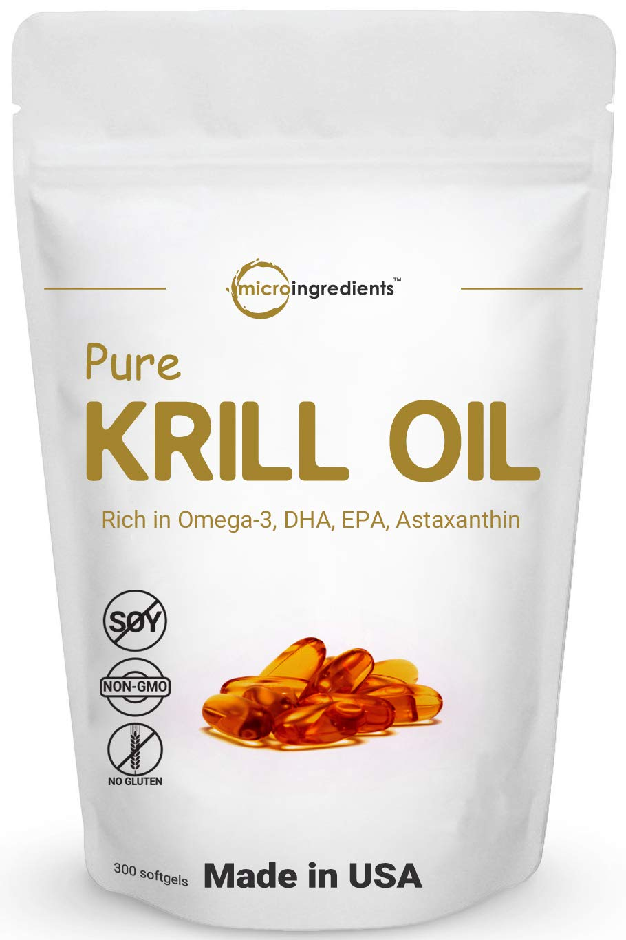 Antarctic Krill Oil Supplement, 1000mg Per Serving, 300 Softgels, Supports Memory and Brain Health, Rich in Omega 3, Fatty Acids, DHA, EPA, Phospholipi and Astaxanthin, No GMOs and Made in USA by Micro Ingredients