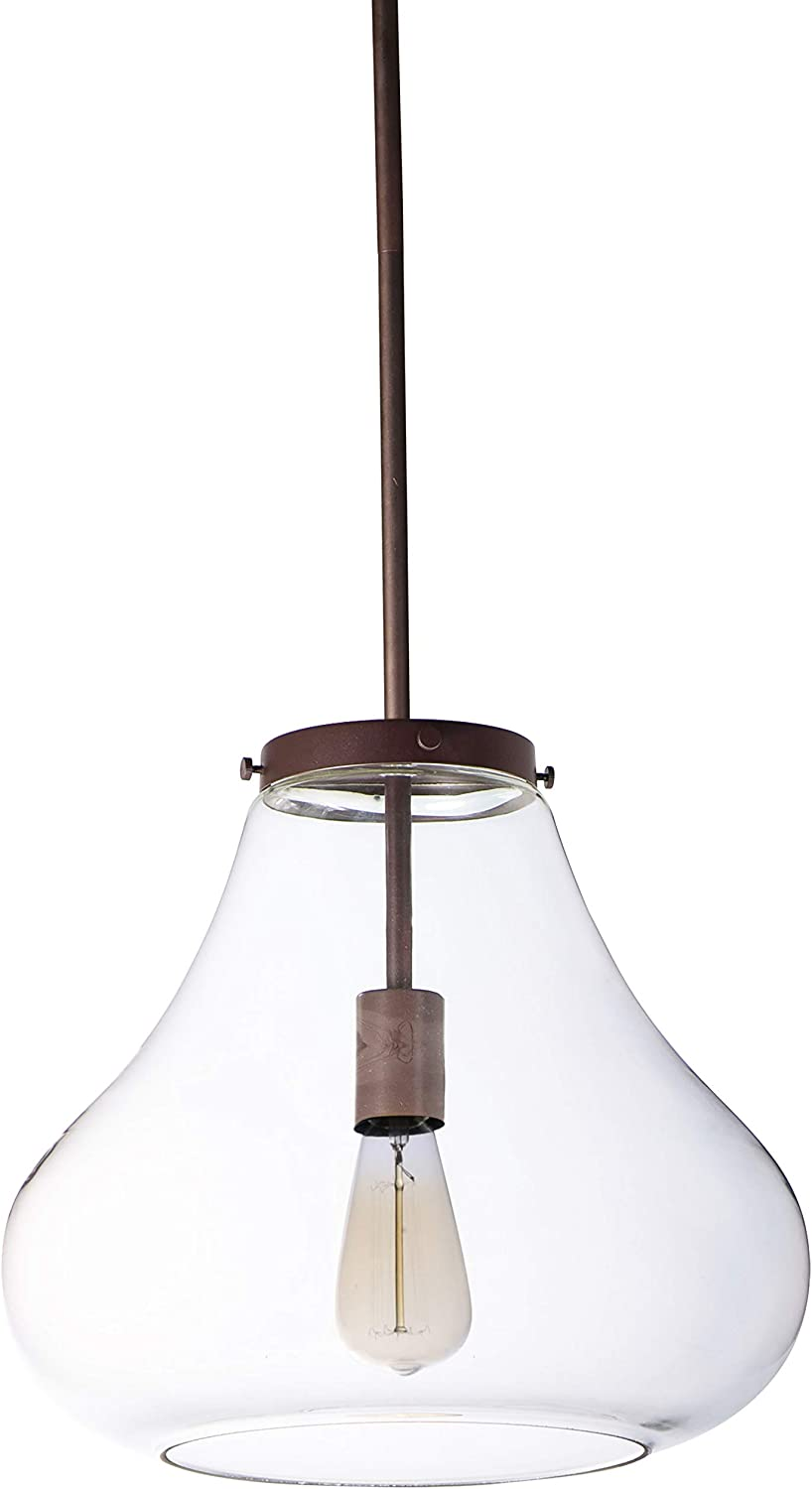 Stone Beam Modern Metal and Glass Hanging Ceiling Pendant Chandelier Fixture with Light Bulb – 13.75 x 13.75 x 14.5 Inches, Bronze