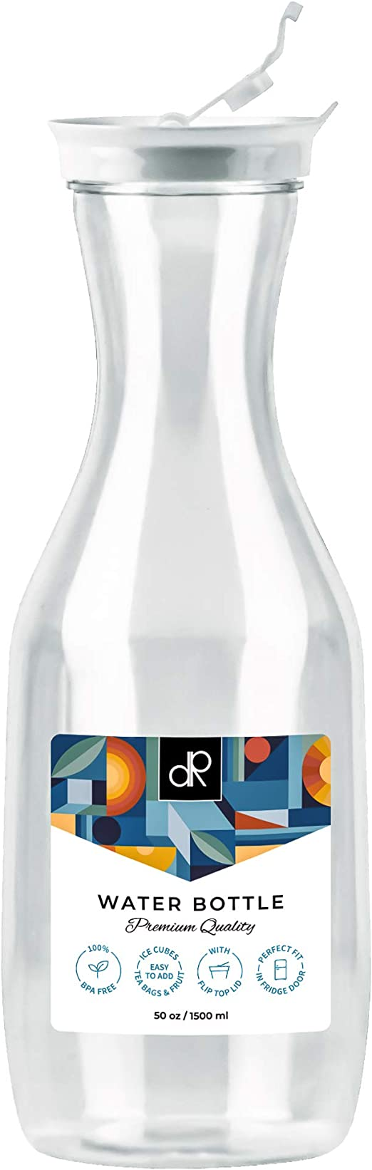 DecorRack Large Water Carafes, Bottle with Black Top Lid, 50 Oz Plastic Juice Pitcher, Decanter, Jug, Serve Fridge Cold Iced Tea, Water, for Outdoors, Picnic, Parties (1 Pack White Top)