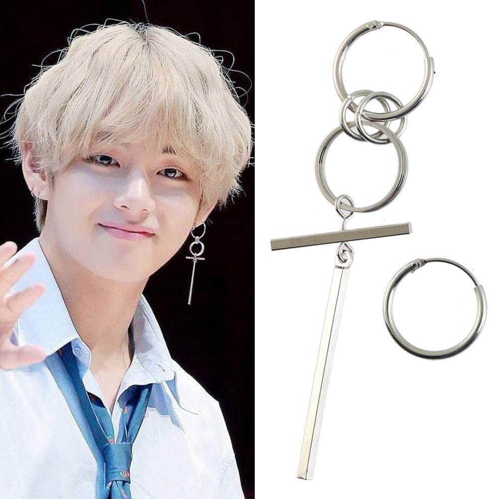 1 Pair KPOP BTS V Earrings Bangtan Boys V Stud Doulbe Ring Silver Ear Stud Chain Earrings For Women Men Punk Fashion Jewelry FENGMANG YH52-A*1$AMZ
