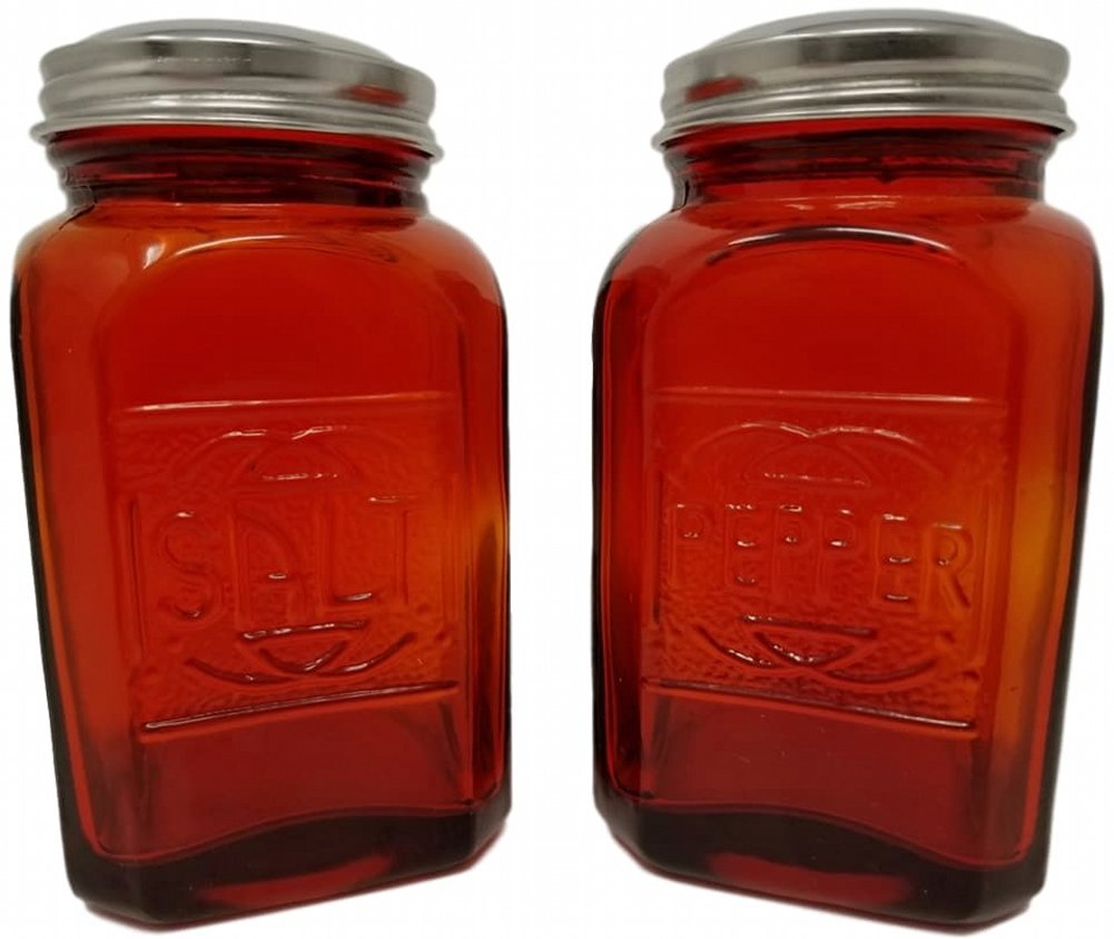 Rhyne And Son Square Embossed Reproduction Style Salt and Pepper Shaker Set (Red)