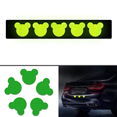 Maite Bear Shape Reflective Tape Waterproof Self-Adhesive for Car Clothes Backpack and Walkway High Visibilty Tape Outdoor Safety Reflective Sticker DIY Decoration 10Pcs Green (65mm×59mm): Automotive