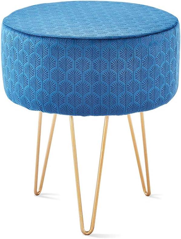 Mxfurhawa Blue Velvet Round Footrest Stool Ottoman Solid Wood Modern Upholstered VanityStoolSide Table Seat Dressing Chair for Bedroom Living Room with Golden Metal Leg