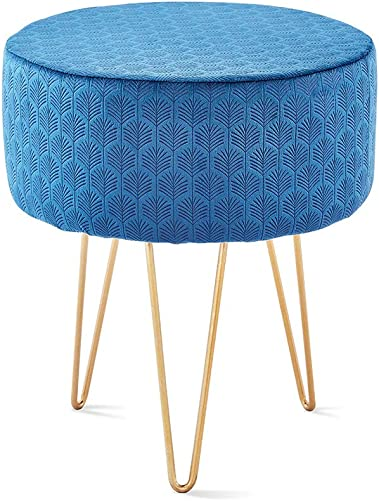 Mxfurhawa Blue Velvet Round Footrest Stool Ottoman Solid Wood Modern Upholstered Vanity Stool Side Table Seat Dressing Chair