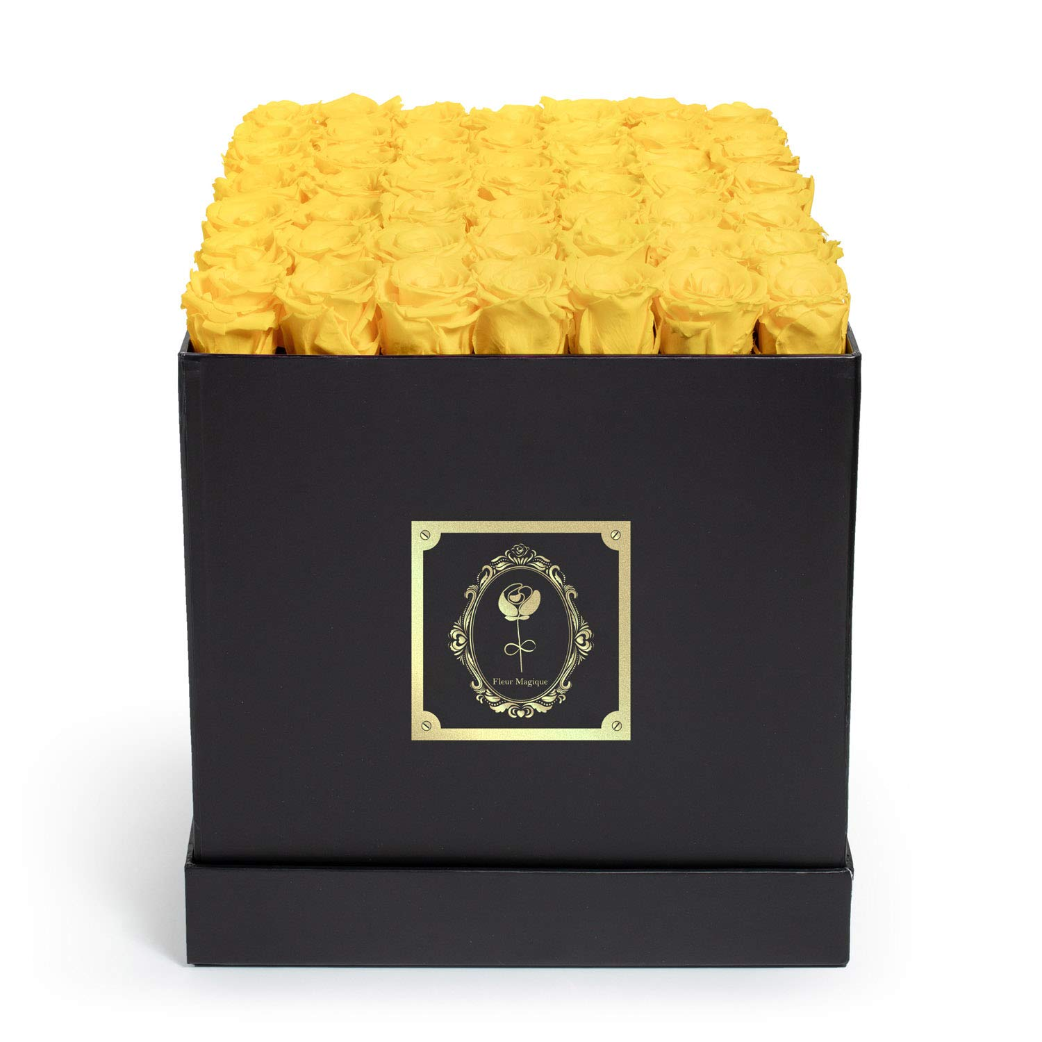 Fleur Magique | Fresh Cut Roses - Preserved Roses - Large Square Classic Black Box - Yellow Roses