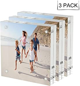 AITEE Acrylic Picture Frame 4x4,Clear Double-Sided Photo Frame,Magnetic Lucite Photo Frames Desktop Display.(3pcs 10 + 10MM Thickness )