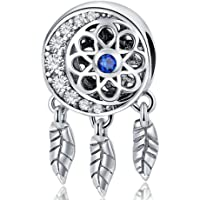 Dream Catcher Charm 925 Sterling Silver Dangle Charms Bead Feather Angel Wing Charms Flower Charm for Women Charm Bracelelt
